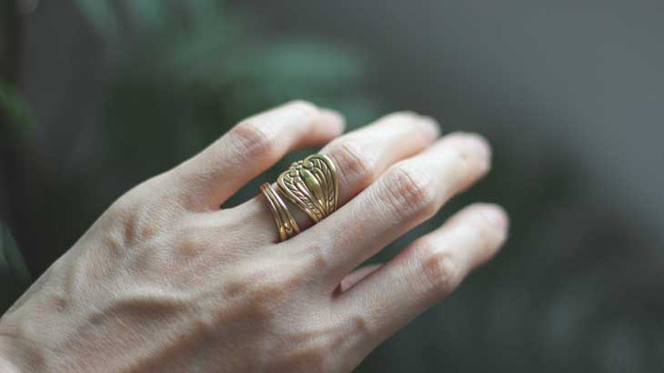 Image photo of a spoon ring, which is one of the motifs of happiness