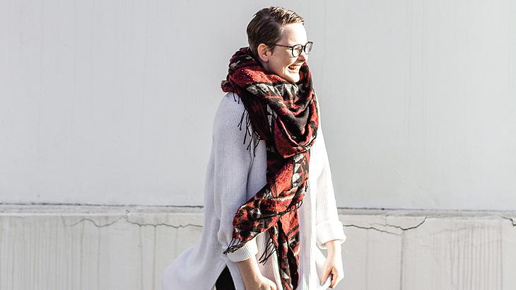 Image of a woman wearing a muffler