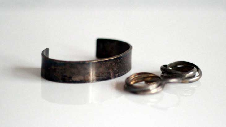 Photo of sulphurized silver accessories